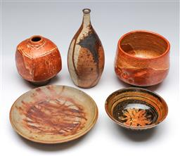 Sale 9148 - Lot 43 - A collection of studio pottery incl vases and small dishes (Tallest vase H: 18cm)