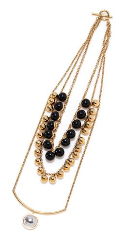 Sale 9213 - Lot 333 - A SARINA SURIANO 18CT GOLD PLATE ONYX ASTERISM NECKLACE; triple strand cable link chain attached with rhodium plated half sphere on...