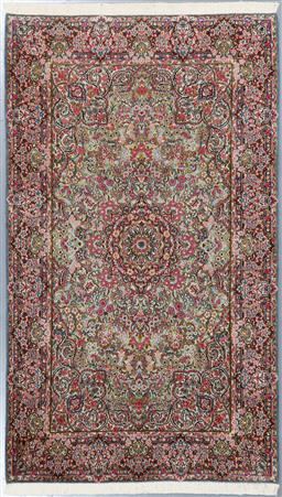 Sale 9199J - Lot 46 - A fine Kerman Persian wool rug, with a paradise central medallion design in green tones with pink highlights, 240cm x 145cm