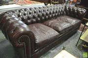 Sale 8390 - Lot 1014 - Three Seater Chesterfield Lounge, with buttoned back and pleats in chestnut