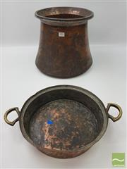 Sale 8439F - Lot 1853 - Copper Cauldron and Small Copper Bowl with Brass Handle (Cauldron H 30cm x D 38cm - Bowl 7cm x D 30cm)