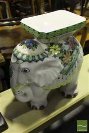 Sale 8499 - Lot 1042 - Crackle Glazed Ceramic Elephant Stool