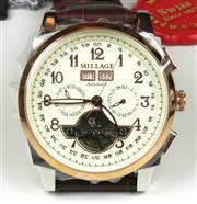 Sale 8623 - Lot 390 - A MILLAGE TOURBILLION AUTOMATIC CALENDAR WRISTWATCH; ref; N2326 model M17045 with cream guilloche dial, centre seconds, luminous han...