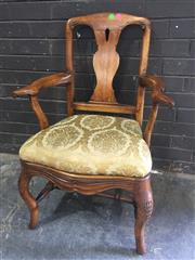 Sale 8976 - Lot 1036 - Probably 18th Century Fruitwood Armchair, with vase shaped splat, gold brocade drop-in seat, drape style apron & cabriole legs  (H:9...