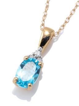 Sale 8982 - Lot 354 - A 14CT GOLD TOPAZ AND DIAMOND PENDANT NECKLACE; oval cut blue topaz to 3 single cut diamonds, length 14mm, on a fine link chain, len...