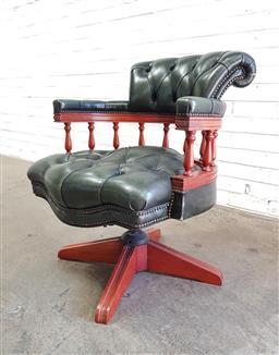 Sale 9108 - Lot 1061 - Captains buttonback chair (h80 x w60 x d58cm)