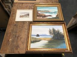 Sale 9152 - Lot 2074 - Group of (3) Paintings depicting Beach Scene and Landscapes by Bremberger (2); Norman Forrester (1) -
