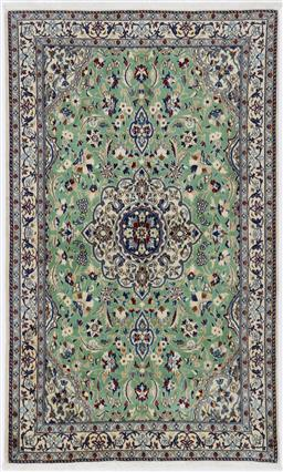 Sale 9199J - Lot 47 - A unique wool and silk finely knotted mint green Nain Persian rug with sky and navy blue highlights, 185cm x 118cm