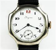 Sale 8402W - Lot 44 - LONGINES VINTAGE STERLING SILVER WRISTWATCH; white dial in an octagonal case, Arabic numerals, subsidiary seconds on a 15 jewell gil...