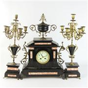 Sale 8432 - Lot 21 - Black Slate & Marble Clock Garniture Set