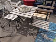 Sale 8601 - Lot 1218 - Timber & Metal Three Piece Outdoor Suite