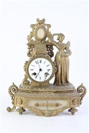 Sale 8810 - Lot 39 - Cast Brass French Mantle Clock, Possibly Circa 1850s