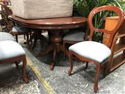 Sale 8822 - Lot 1833 - Twin Pedestal Dining Table with 8 Balloon Back Chairs (top not attached)
