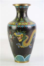 Sale 8926A - Lot 693 - Cloisonne Dragon Themed Vase (H23cm) dent to side