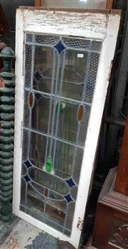 Sale 8925 - Lot 1037 - Two rectangular and painted white stain glass windows (115.5 x 45.5cm)