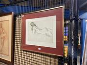 Sale 8936 - Lot 2042 - Raphel Soyer (1899 - 1987) Reclined Nude etching ed. 6/35, 41.5 x 49cm (frame), signed