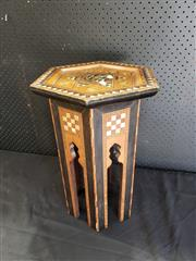 Sale 8988 - Lot 1021 - Small Inlaid Occasional Table (H: 47 x D: 28cm)