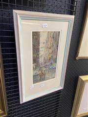 Sale 9082 - Lot 2034 - F. Lewis, European Street Scene, Watercolour, SLR, 28.5x15cm, frame 47x30cm