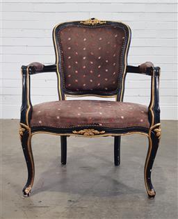 Sale 9191 - Lot 1025 - Gilt & ebonised timber carver (h:88 w:61 d:50cm)