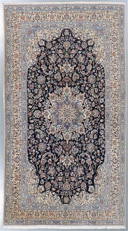 Sale 9199J - Lot 48 - A fine vintage Nain wool and silk Persian rug, navy field having a detailed Shah Abbas medallion, 320cm x 173cm