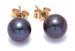 Sale 9246J - Lot 379 - A PAIR OF BLACK PEARL STUD EARRINGS; 7.6mm round cultured pearls of good colour and lustre to 9ct gold fittings.