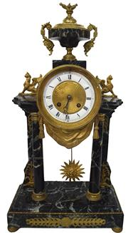 Sale 8342A - Lot 99 - An antique French Empire mantle clock, very impressive model made in France circa 1850 with key and pendulum, H 48 cm