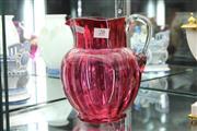 Sale 8360 - Lot 28 - Victorian Cranberry Glass Jug