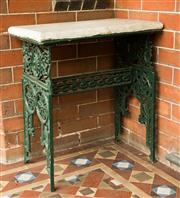 Sale 8418A - Lot 2 - A green painted wrought iron and marble topped planting table, H 72 x W 60 x D 37cm