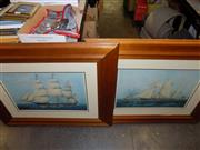 Sale 8422T - Lot 2080 - T.G Dutton, two works, Tall Ships, framed decorative prints, frame size 74 x 92cm each