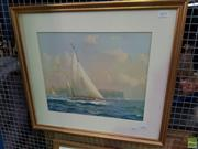 Sale 8619 - Lot 2075 - John Allcot - Sailing to Windward, Frame size: 55 x 61cm