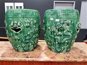 Sale 8697 - Lot 1008 - Pair of Chinese Green Glazed Dragon Stools