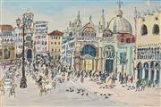 Sale 8819 - Lot 2089 - Brian Kewley (1933 - ) - Piazza San Marco, 1971 36.5 x 54.5cm
