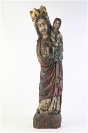 Sale 8806 - Lot 74 - 1960s Carved Polychrome Madonna & Child Possibly from Assisi( H 69cm)