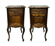 Sale 8828A - Lot 60 - A pair of antique French oak with rouge marble top bed side tables. 82 x 40 x 40 cm