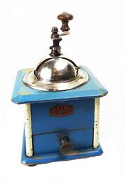 Sale 8828B - Lot 40 - An early C20th French painted blue coffee grinder marked Dalto. Height 24cm