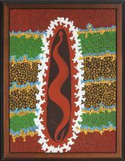 Sale 8878 - Lot 2034 - Matthew Tjupurrula Gill (1960 - 2002) - Snake Guarding Salt Water 59 x 44 cm (framed and ready to hang)