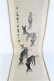 Sale 8902C - Lot 693 - Scroll painting of donkeys with calligraphy and red seal