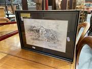 Sale 9082 - Lot 2091 - Vivian Dwyer - Blacksmiths Sheds Maeranie Station N.S.W., Pencil, SLL, 18.5x27.5cm, 28.5x38cm