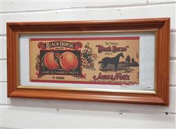 Sale 9101 - Lot 2016 - Original Black Horse Brand: Jams & Fruits label, chromolithograph, 28 x 58cm (frame)
