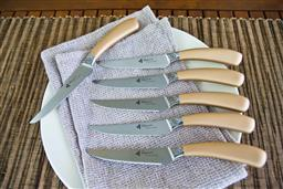 Sale 9240L - Lot 67 - 6-Piece Steak Knife Set - Rose Gold - Laguiole Mondial by Louis Thiers