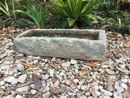Sale 9175G - Lot 65 - Carved Stone Water Trough / Planter /Bird Bath.General wear , holds water .Size :76cm Lx 31cm Wx 17cm H