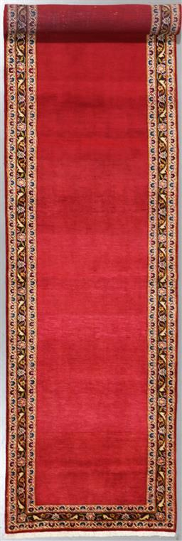 Sale 9199J - Lot 49 - An unusual open field royal red fine lambswool Persian fine Kashan runner, 415cm x 95cm
