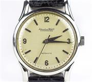 Sale 8402W - Lot 46 - IWC AUTOMATIC WRISTWATCH; in stainless steel with cream dial applied baton and Arabic markers, centre seconds on a 21 jewell cal. 85...