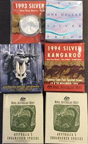 Sale 8465J - Lot 320 - SIX SILVER $1 AND $10 COINS; 2 X $10 Australias Endangered Species 1995 proof coins (925 silver), Numbat (00817 & 00815), 4 x $1...