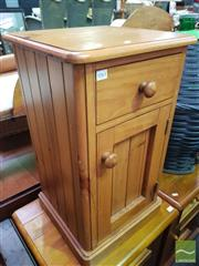Sale 8495F - Lot 1061 - Pine Bedside with Single Drawer & Door