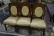 Sale 8523 - Lot 1056 - Set of 6 Heavily Carved Edwardian Dining Chairs