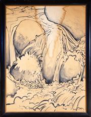 Sale 8550H - Lot 51 - Artist Unknown - Paul E Conley? - Waterfall