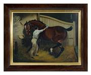 Sale 8586A - Lot 51 - Artist Unknown, British School - Horse and Handler in a Stable 43 x 55 cm