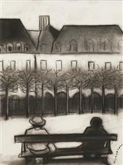 Sale 8656 - Lot 565 - Robert Dickerson (1924 - 2015) - On the Seat outside Place des Vosges 37 x 26.5cm