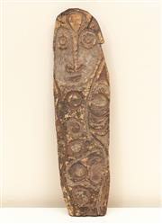 Sale 8855H - Lot 41 - Sepik River, Papua New Guinea, Shield, carved and painted, 40cm